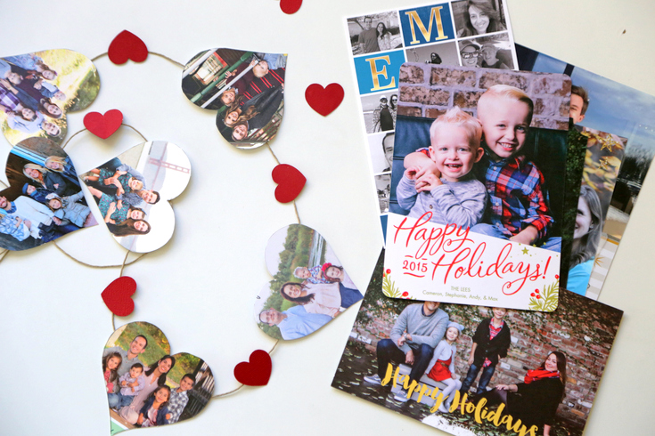 Still have those Christmas cards hanging around? Turn them into a cute Valentine's decoration.