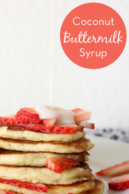Coconut Buttermilk Syrup -- a quick and delicious topping for pancakes and waffles! (Plus, a great way to use up leftover buttermilk)