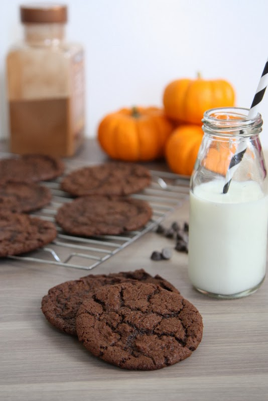Double Chocolate Pumpkin Cookies -- the BEST pumpkin cookies. The flavor of pumpkin and the texture (crisp edges, chewy center) of a traditional cookie. Perfect fall treat!