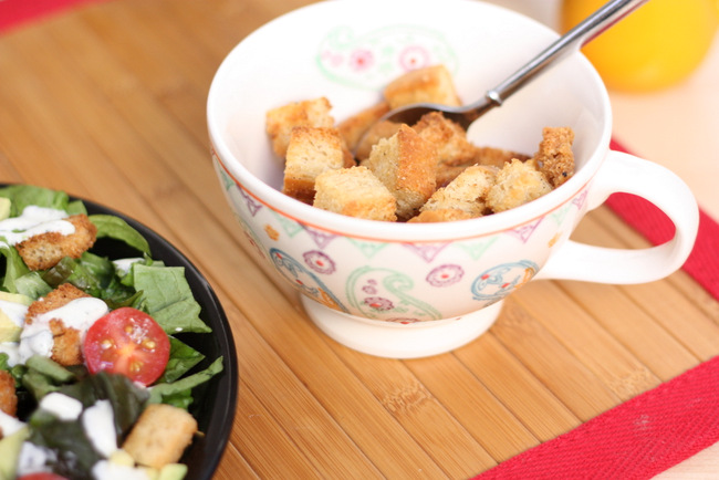 Super easy homemade croutons. Way better than anything you'll buy at the store and a great way to use up the last slices of bread