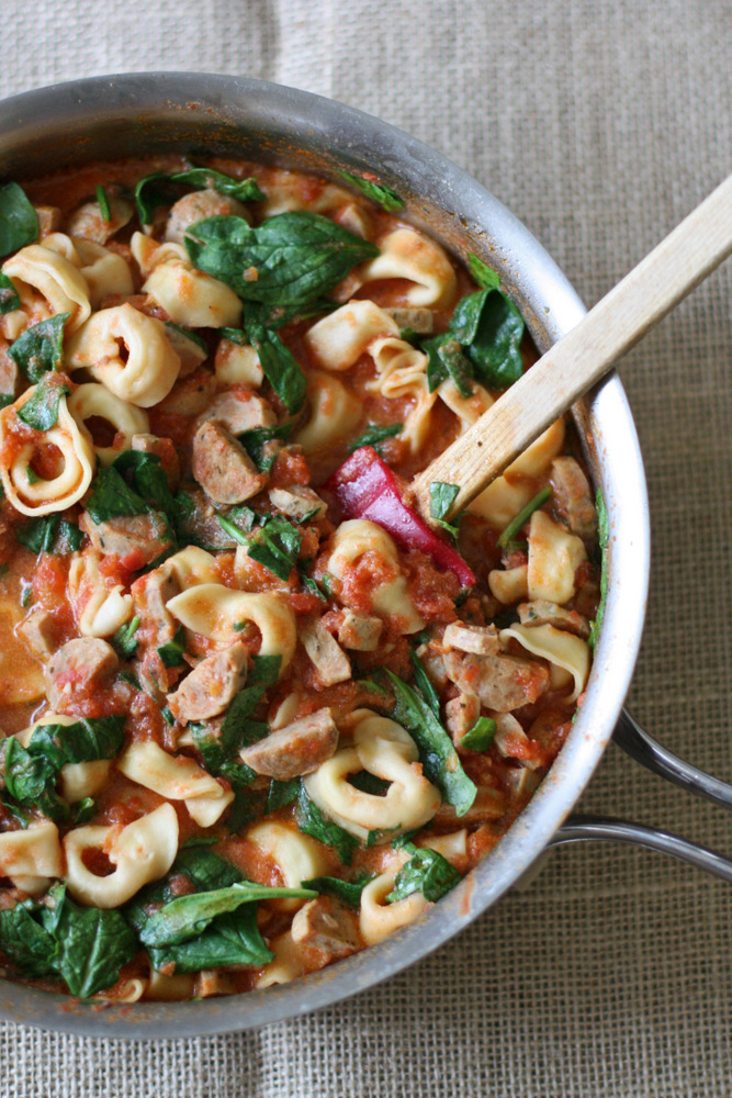 Creamy Sausage and Spinach Tortellini -- quick, family-friendly dinner made in one skillet!