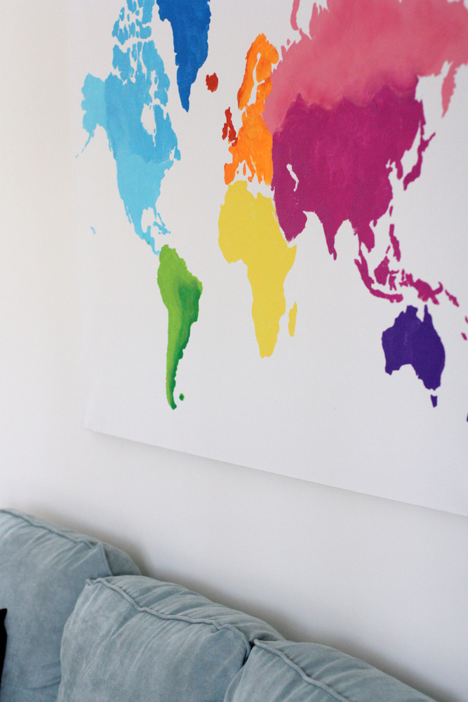 A Watercolor World Map Everyday Reading - Cheap large maps