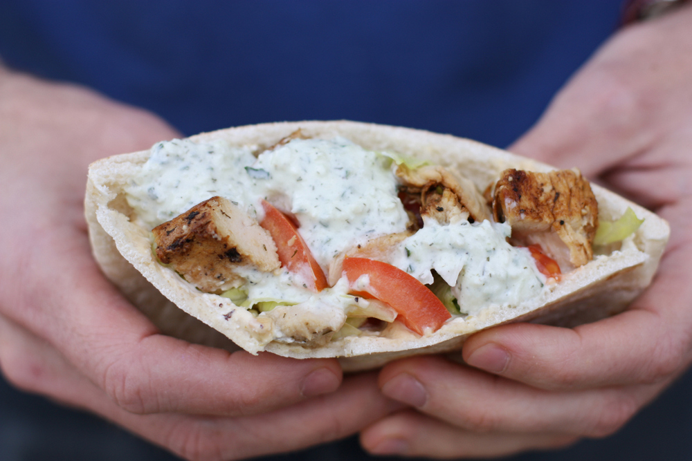 Super tasty chicken pitas with jalapeño feta spread and homemade Tzatziki sauce.