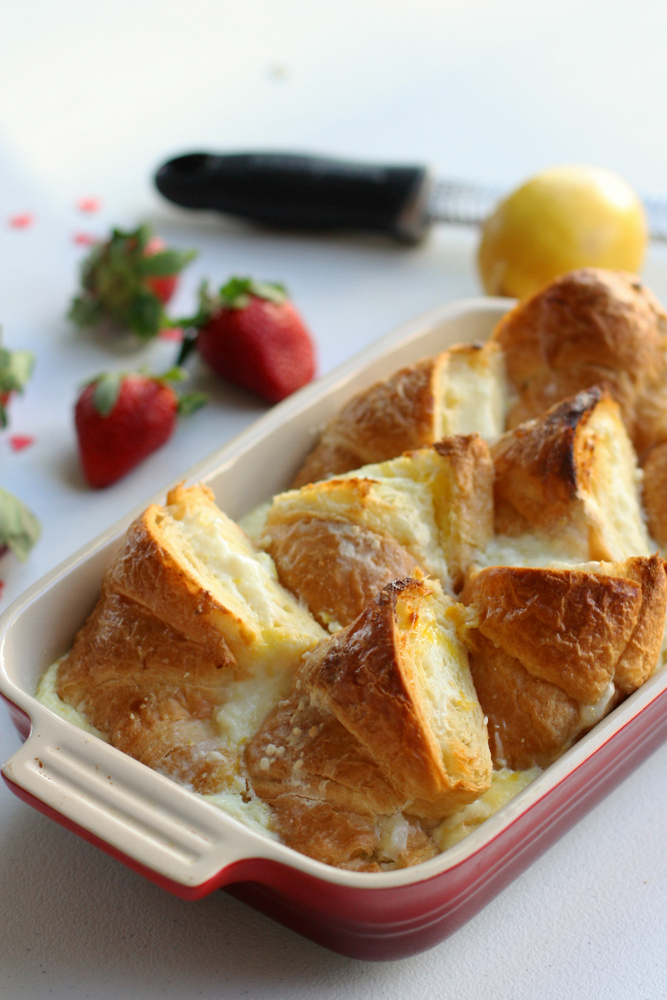 Baked Croissant French Toast with Lemon Cream Cheese. Super easy to make the night before and then pop in the oven for a special breakfast!