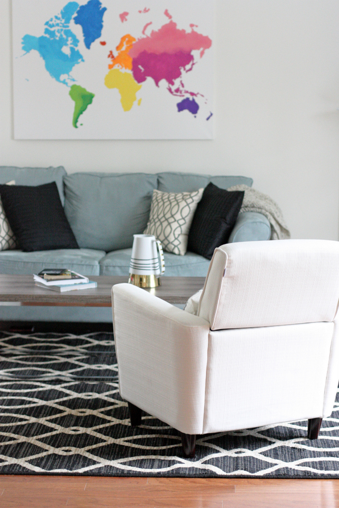 Kid-friendly family room with grown-up style