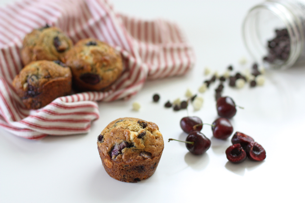 white chocolate cherry muffins