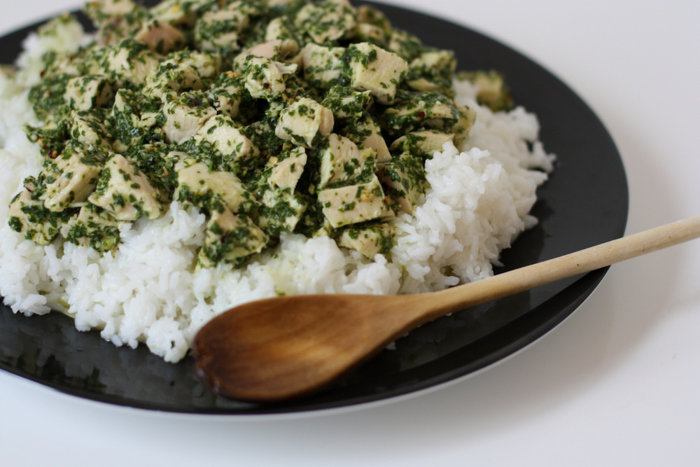 Thai Pesto Chicken and Rice. An easy summer dinner that's so fresh and delicious, you'll be making it year-round!