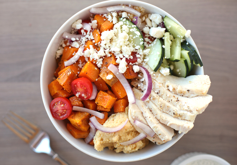 greek sweet potato bowl