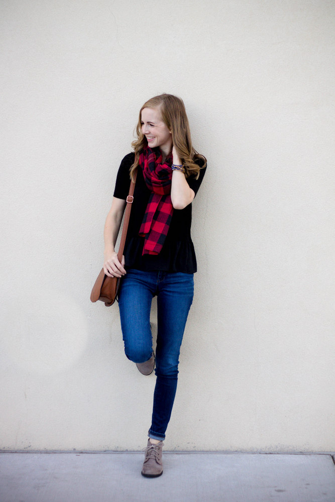 plaid + peplum + crossbody saddle bag