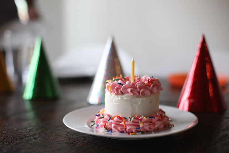 Tiny smash cake made in a tin can for a first birthday