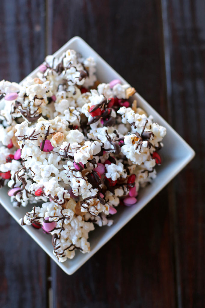 Festive and chocolate-y popcorn mix for Valentine's Day!