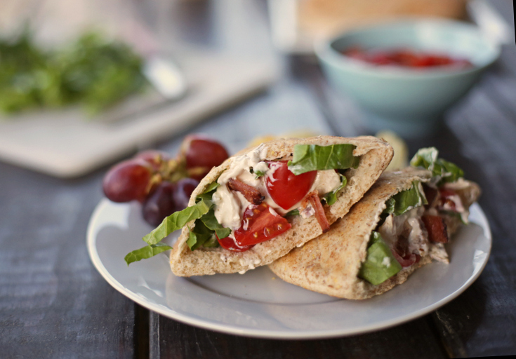 These chicken, bacon, and blue cheese pitas are perfect for a quick weeknight dinner
