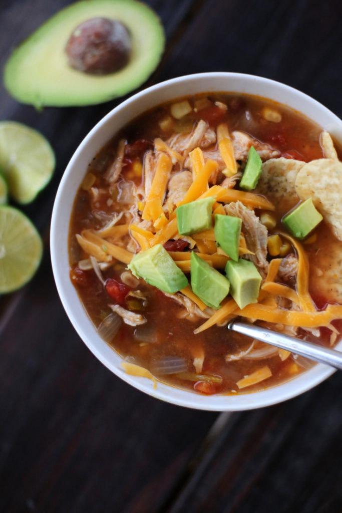 A super easy crockpot chicken tortilla soup recipe that's perfect for busy school nights or cozy fall weekends.