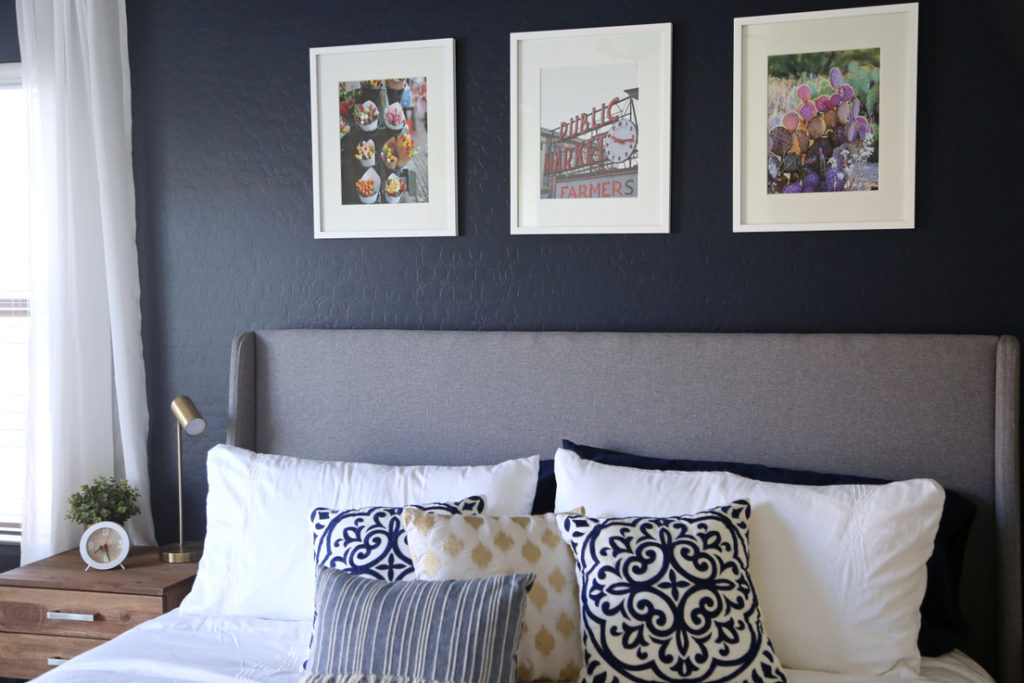 Navy And Gold Bedside Lamps: House Tour: Master Bedroom