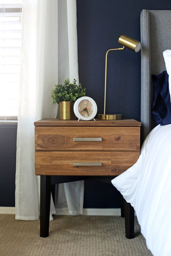 navy master bedroom