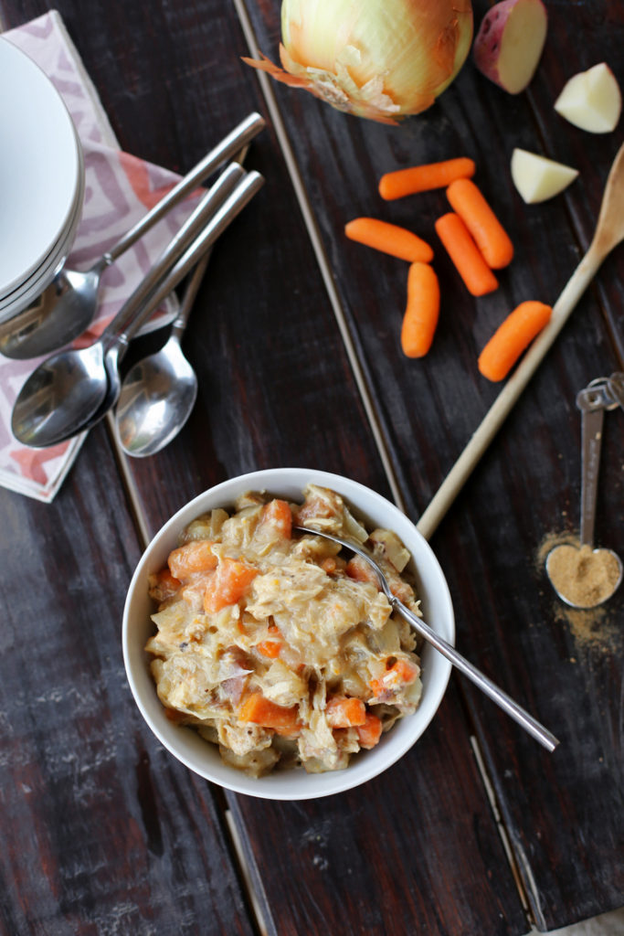 Super simple and delicious chicken crockpot stew that the whole family will love. The perfect fall and winter dinner where the slow cooker does all the work!