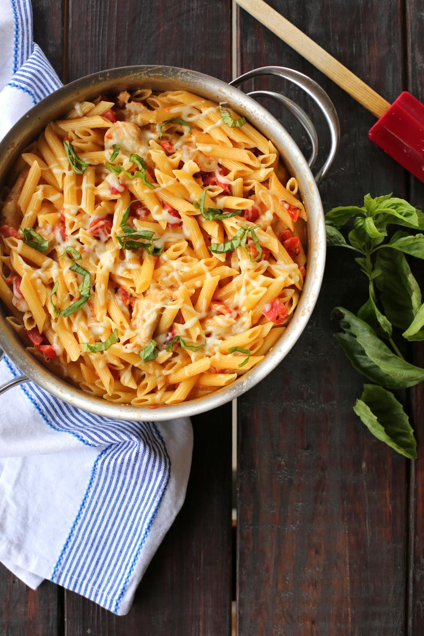creamy chicken and fire roasted tomato pasta