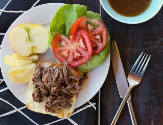 It takes 90 seconds to toss in the crockpot and the whole family will love these french dip sandwiches!