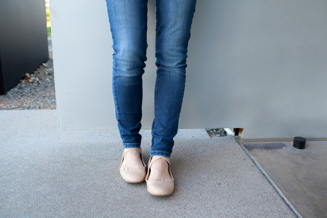 Jeans + ballet flats + bright sweater