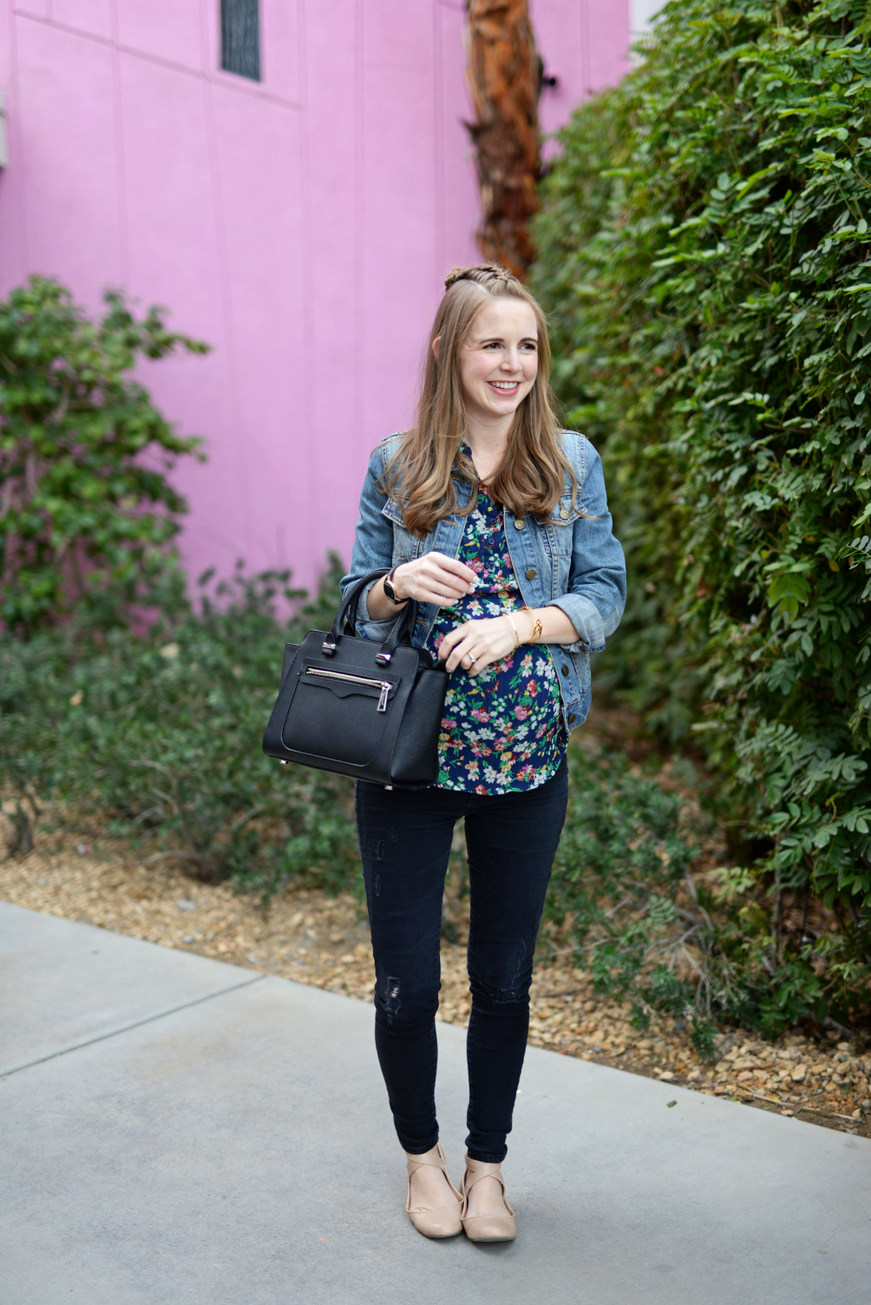 Black + floral + denim jacket