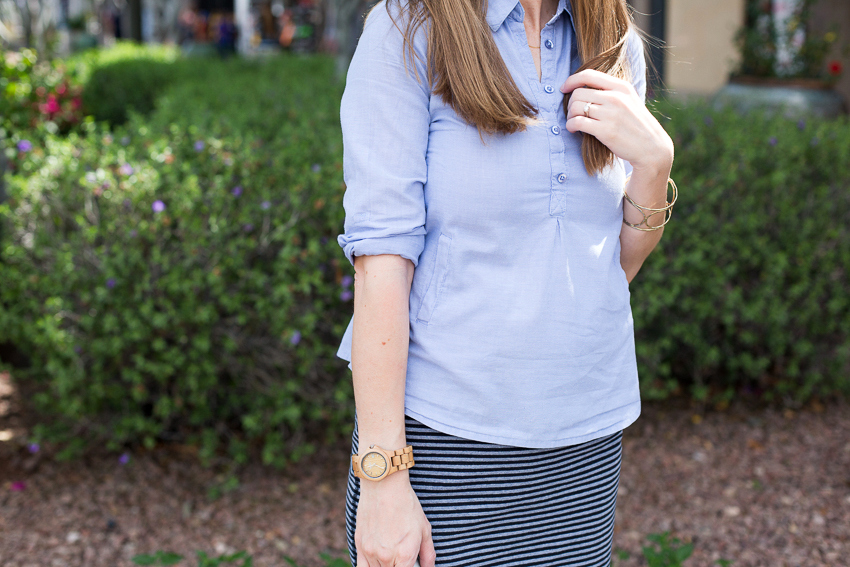 chambray + stripes + sneakers