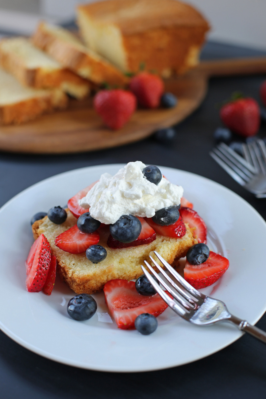 Cream Cheese Pound Cake With Fresh Berries And Whipped