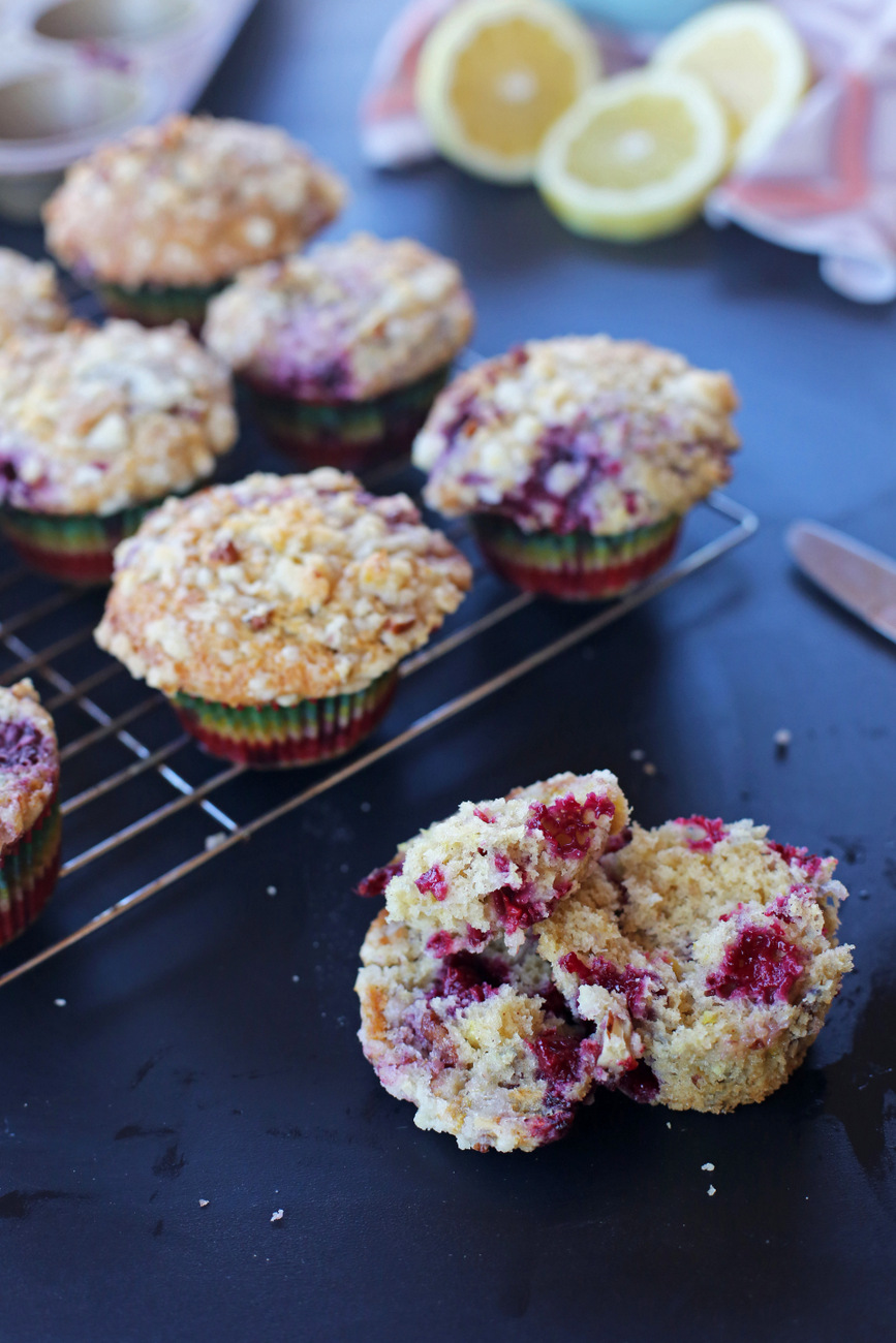 Raspberry muffins with lemon zest and crumble topping