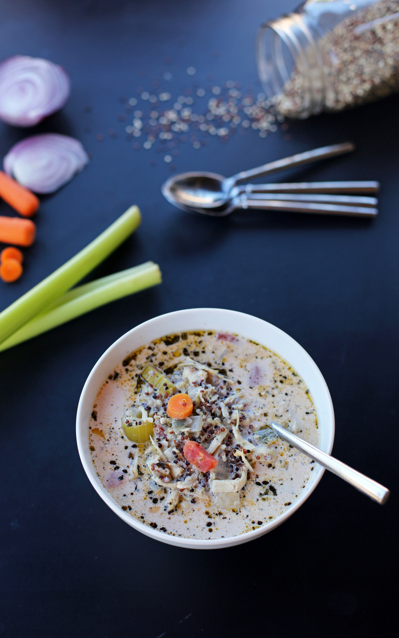 The most amazing quinoa chicken soup that's packed with vegetables for an easy fall or winter dinner