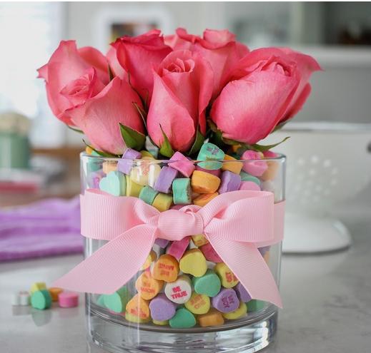conversation heart valentine bouquet