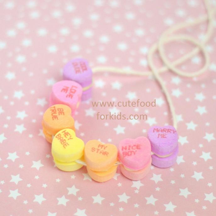 conversation heart edible necklace