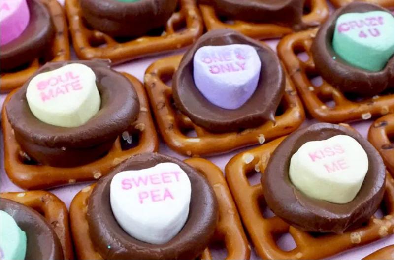 conversation heart pretzel bites