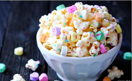 conversation heart white chocolate popcorn